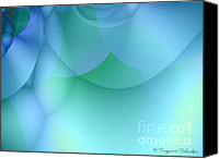 Fractal Design Canvas Prints - Blue Green Abstract Canvas Print by Suzanne Schaefer