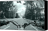 Steal Canvas Prints - Blue Harley Canvas Print by Micah May