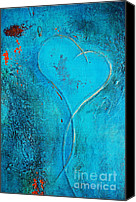 Couples Mixed Media Canvas Prints - Blue Heart Abstract Canvas Print by Anahi DeCanio