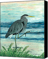 John Brown Canvas Prints - Blue Heron Canvas Print by John Brown