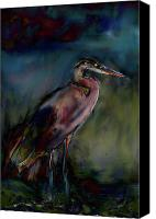 Art Appraisal Canvas Prints - Blue Heron Painting II Canvas Print by Don  Wright