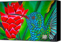 Silk Postcard Tapestries - Textiles Canvas Prints - Blue Hummingbird Canvas Print by Daniel Jean-Baptiste