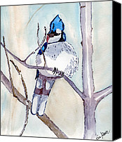 Woods Drawings Canvas Prints - Blue Jay Canvas Print by Eva Ason