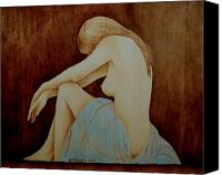 Profile Pyrography Canvas Prints - Blue Canvas Print by Jo Schwartz