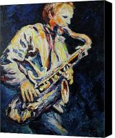 Sax Art Painting Canvas Prints - Blue Les Canvas Print by Shannon Grissom