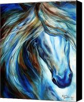 Baldwin Canvas Prints - Blue Mane Event Equine Abstract Canvas Print by Marcia Baldwin