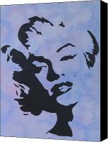 Marilyn Munroe Canvas Prints - Blue Marilyn Canvas Print by Rosetta  Jallow