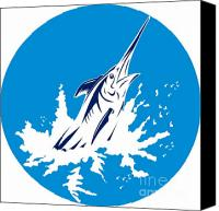 Marlin Canvas Prints - Blue Marlin circle Canvas Print by Aloysius Patrimonio