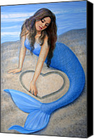 Woman Painting Canvas Prints - Blue Mermaids Heart Canvas Print by Sue Halstenberg