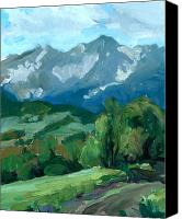 Montana Digital Art Canvas Prints - Blue Montana Mountans 2 Canvas Print by DeBob Jacob