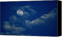 Moon Canvas Prints - Blue Moon Canvas Print by Charles Shedd