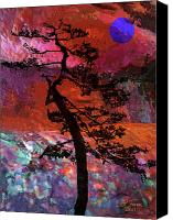 Red Moon Digital Art Canvas Prints - Blue Moon Canvas Print by Renata Ferenc