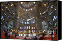 Chandelier Canvas Prints - Blue Mosque Interior Canvas Print by Joan Carroll