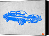 Dwell Canvas Prints - Blue Muscle Car Canvas Print by Irina  March