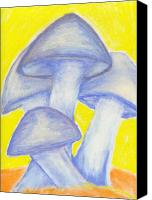 Mushroom Pastels Canvas Prints - Blue Mushrooms Canvas Print by William Burgess