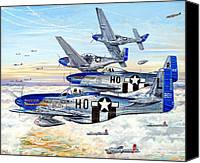 Air Plane Drawings Canvas Prints - Blue Nosed Bastards of Bodney Canvas Print by Charles Taylor