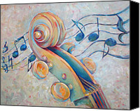 Classical Musical Art Canvas Prints - Blue Notes - Cello Scroll in Blues Canvas Print by Susanne Clark