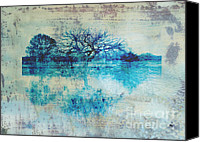 Textured Landscape Canvas Prints - Blue on Blue Canvas Print by Ann Powell
