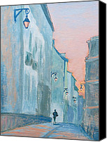 Lamps Painting Canvas Prints - Blue Paris Canvas Print by Marianne Beukema