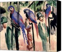 Grb Canvas Prints - Blue Parrots Canvas Print by August Macke