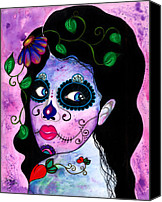 Sugar Skull Painting Canvas Prints - Blue Peepers Canvas Print by B Marie