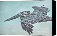 Florida Mixed Media Canvas Prints - Blue Pelican Canvas Print by Deborah Benoit