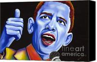Portrait Barack Obama Canvas Prints - Blue pop President Barack Obama Canvas Print by Nannette Harris