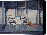 Egg Tempera Canvas Prints - Blue Porch with Chairs Canvas Print by John Entrekin