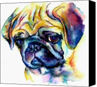 Colorfull Canvas Prints - Blue Pug Canvas Print by Christy  Freeman