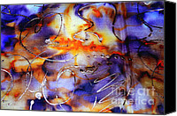 Modern Abstract Art Tapestries - Textiles Canvas Prints - Blue Purple Orange Yellow and Silver  Canvas Print by Alexandra Jordankova