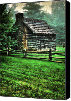 Cabin Window Canvas Prints - Blue Ridge Cabin Canvas Print by Darren Fisher