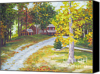 Diane Hewitt Canvas Prints - Blue Ridge Mountain Cabin Canvas Print by Diane Hewitt
