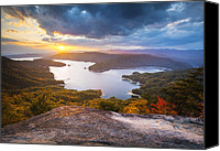 Appalachia Photo Canvas Prints - Blue Ridge Mountains Sunset - Lake Jocassee Gold Canvas Print by Dave Allen