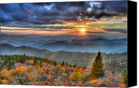 Mary Anne Baker Canvas Prints - Blue Ridge Mountains Sunset Canvas Print by Mary Anne Baker