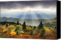 Fall Canvas Prints - Blue Ridge Parkway Light Rays - Enlightenment Canvas Print by Dave Allen