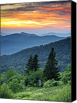 Dave Canvas Prints - Blue Ridge Parkway NC Landscape - Fire in the Mountains Canvas Print by Dave Allen