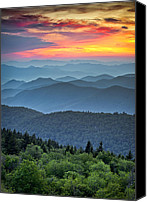 Western Canvas Prints - Blue Ridge Parkway Sunset - The Great Blue Yonder Canvas Print by Dave Allen