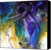 Baldwin Canvas Prints - Blue Roan Abstract Canvas Print by Marcia Baldwin