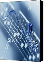 Blues Canvas Prints - Blue Saxophone Canvas Print by Norman Reutter