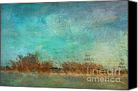 Impressionistic Art Canvas Prints - Blue Sky and Beach Canvas Print by Deborah Benoit