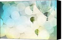 Boy Room Art Canvas Prints - Blue Sky Bokeh Balloons Canvas Print by Andrea Hazel Ihlefeld