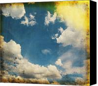Burnt Canvas Prints - Blue Sky On Old Grunge Paper Canvas Print by Setsiri Silapasuwanchai