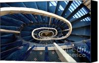 Spiral Staircase Canvas Prints - Blue spiral stairsway Canvas Print by Mike Nellums