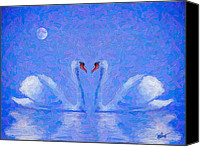 Sea Animals Mixed Media Canvas Prints - Blue Swans Canvas Print by Michael Petrizzo