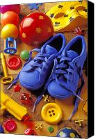 Toys Canvas Prints - Blue tennis shoes Canvas Print by Garry Gay
