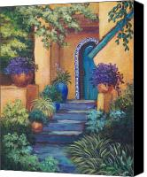 Tile Canvas Prints - Blue Tile Steps Canvas Print by Candy Mayer