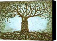 Roots Canvas Prints - Blue Tree of Life Canvas Print by Renee Womack