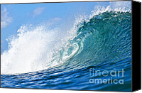 Blue Canvas Prints - Blue Tube Wave Canvas Print by Paul Topp