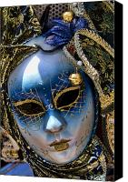 Venetian Canvas Prints - Blue Venetian Mask Canvas Print by David Smith