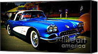 Drive Canvas Prints - Blue Vette Dreams Canvas Print by Perry Webster